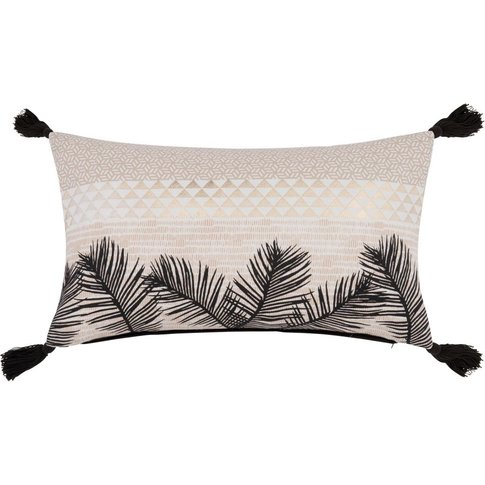 Patterned Black and Ecru Cotton Cushion Cover 30x50