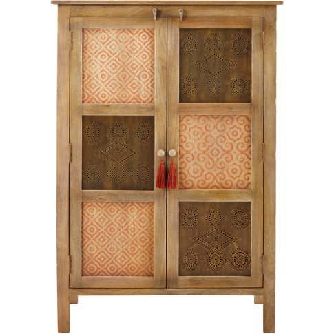 Patterned Solid Mango Wood 2-Door Cabinet Tunga