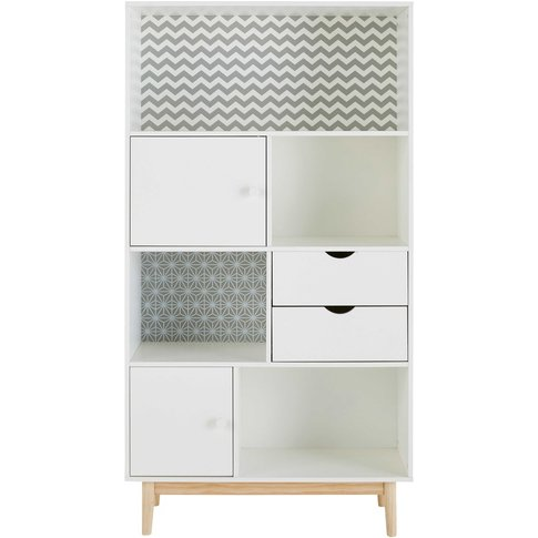 Patterned White 2-Drawer 2-Door Bookcase Joy