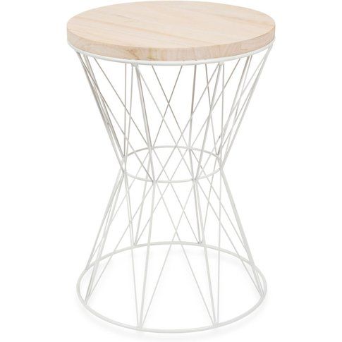 Paulownia And White Metal Side Table
