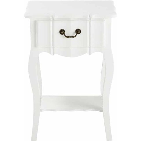 Paulownia Wood Bedside Table With Drawer In White W ...