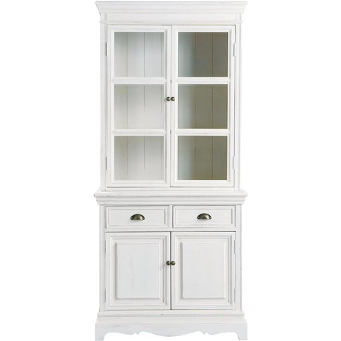Paulownia Wood China Cabinet In White W 86cm Joséphine