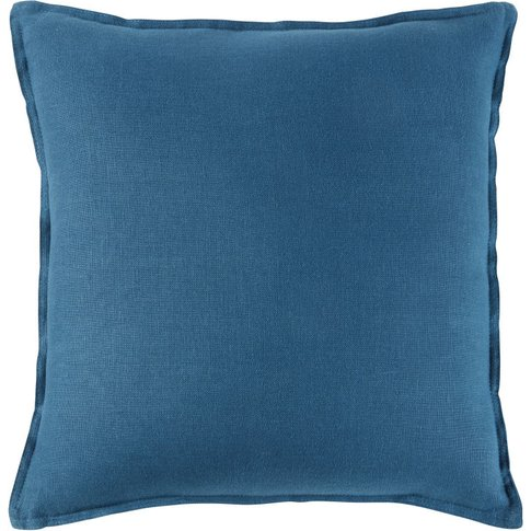 Peacock Blue Washed Linen Cushion 45x45