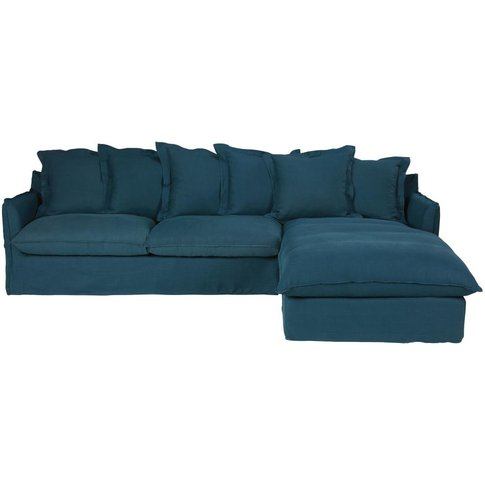 Petrol Blue 6-Seater Washed Linen Right-Hand Corner ...