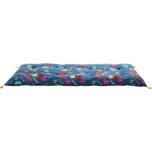 Petrol Blue Cotton Futon With Floral Print 90x190