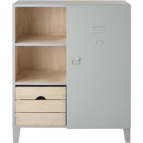 Pine and Metal 1-Drawer 1-Door Bookcase Dino