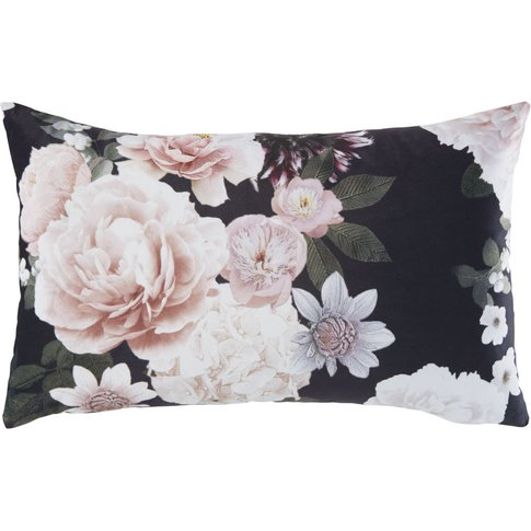Pink and Black Cushion with Floral Print 30x50