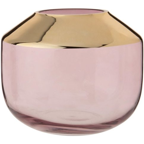 Pink And Gold Tinted Glass Vase H15