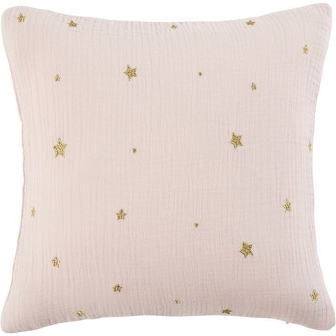 Pink Cotton Cushion With Gold Star Print 35x35