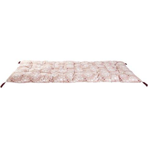Pink Cotton Futon With White Graphic Print 90x190