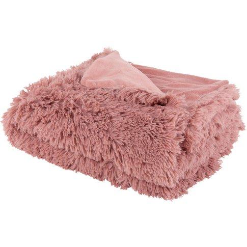 Pink Faux Fur Throw 130x170
