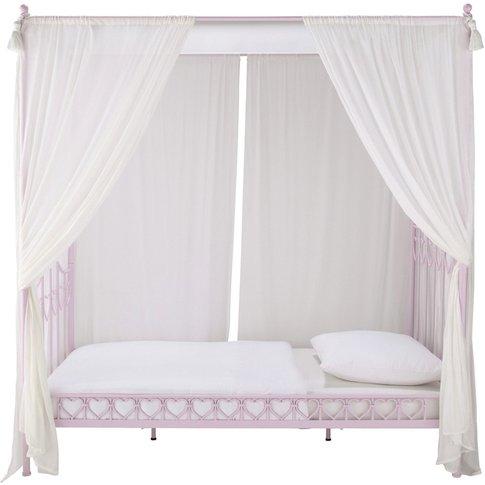 Pink Metal 90x190 Four-Poster Bed Eglantine