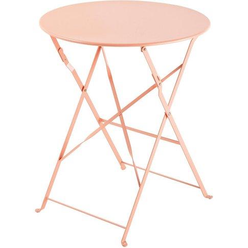 Pink Metal Folding Garden Table D 58 cm Guinguette