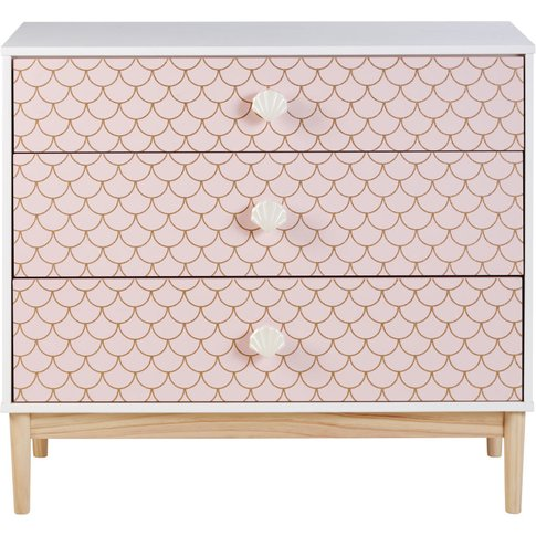 Pink Scales Print 3-Drawer Chest Of Drawers Mermaid