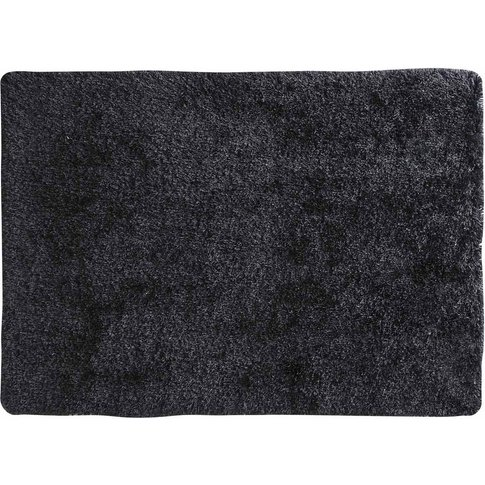 Polaire Fabric Long Pile Rug In Charcoal Grey 200 X ...