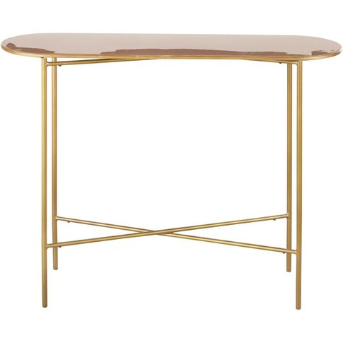 Powder Pink And Gold Metal Console Table Maddie