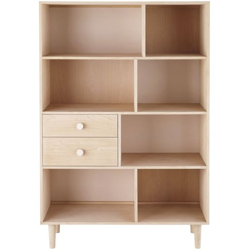 Powder Pink And Whitewashed Beech 2-Drawer Bookcase Lou