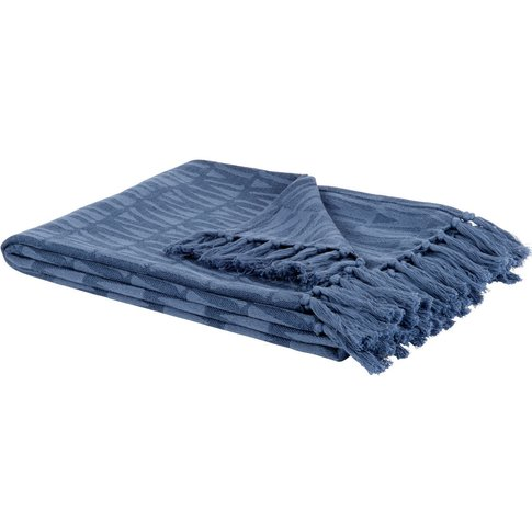 Printed Blue Cotton Blanket 130x170