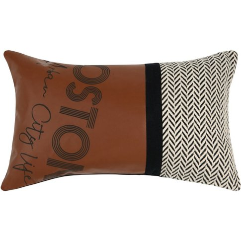 Printed Brown, Grey And Black Cotton Cushion 30x50