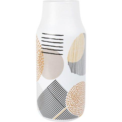 Printed Ivory Ceramic Vase H28