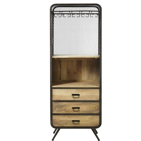 Professional Mango Wood And Metal Storage Cabinet Shelter Pro