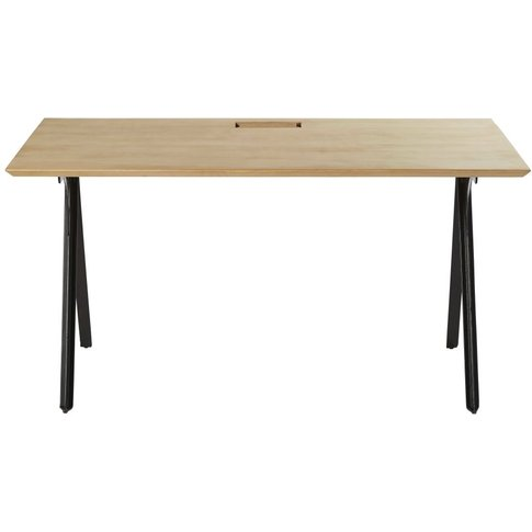 Professional Solid Mango Wood And Black Metal Desk B...
