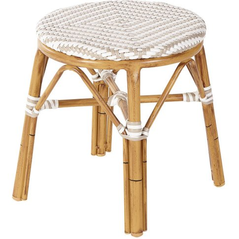 Professional White And Beige Woven Resin Garden Stoo...