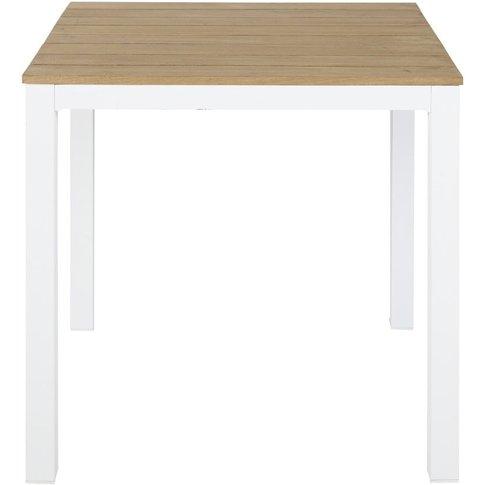 Professional White Metal and Teak Garden Table W75 R...