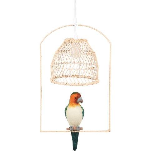 Rattan Pendant Light With Parrot