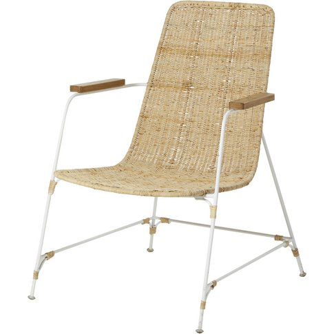 Rattan Wicker And White Metal Armchair Pacific