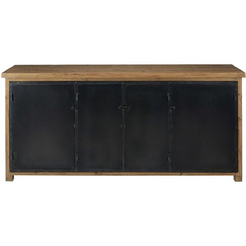 Recycled Pine And Anthracite Metal 4-Door Sideboard ...