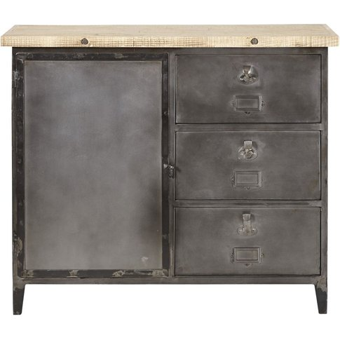 Recycled Pine And Metal 1-Door 3-Drawer Sideboard Fu...