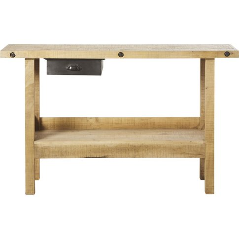Recycled Pine And Metal Industrial 1-Drawer Console ...