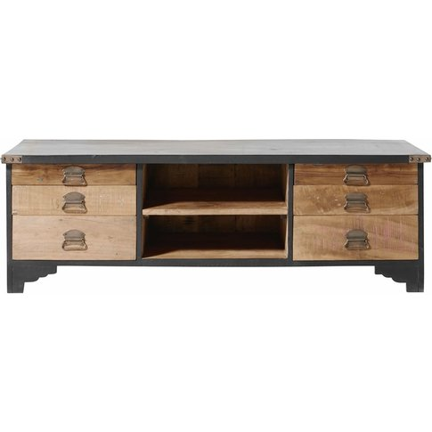 Recycled Wood And Black Mango Wood 6-Drawer Tv Cabin...