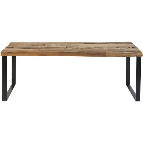 Recycled Wood And Black Metal Bench