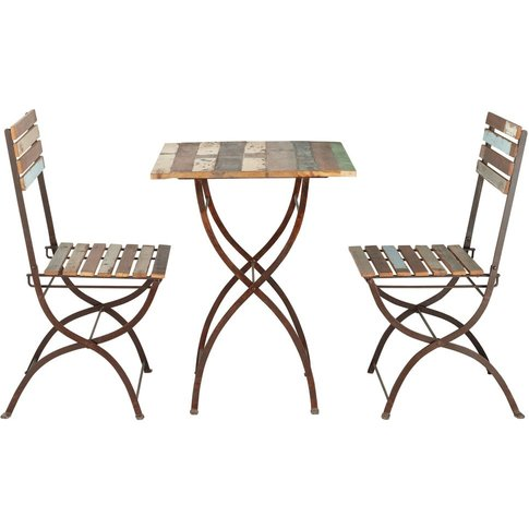 Recycled wood and metal garden table + 2 chairs in d...