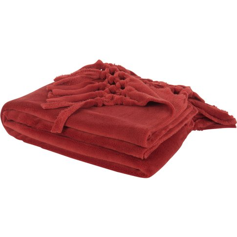 Red Blanket With Fringing 130x170