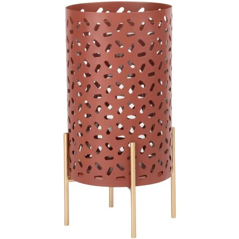 Red Cut-Out Metal Candle Holder