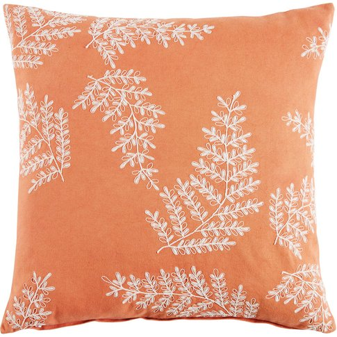 Red Embroidered Cotton Cushion with Leafy Motifs 45x45