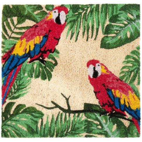 Red Parrots Print Coconut Fibre Door Mat 45x45