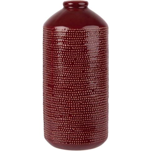Red Patterned Ceramic Vase With White Dots H25