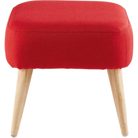 Red Stool With Rubber Wood Legs