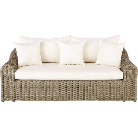 Resin Wicker and Ecru Canvas 3-Seater Garden Sofa Mi...