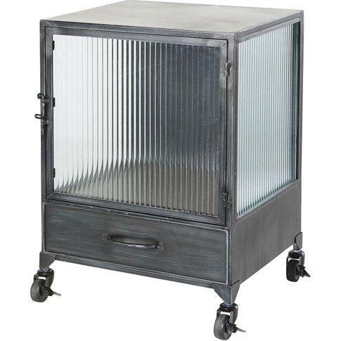 Ribbed Glass And Black Metal Side Table On Wheels