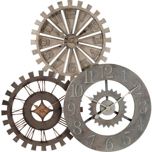 ROUAGES metal triple clock D 92cm