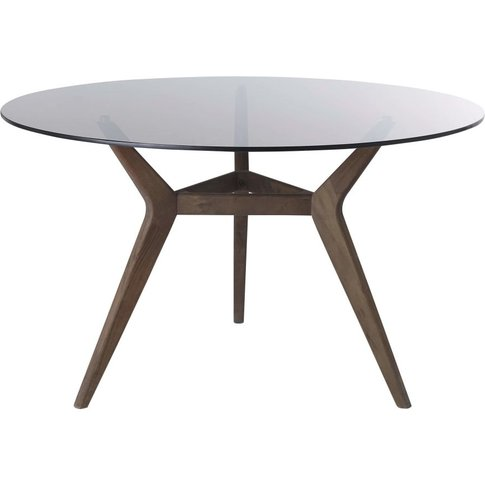 Round 4/6-Seater Glass And Acacia Dining Table Sterling