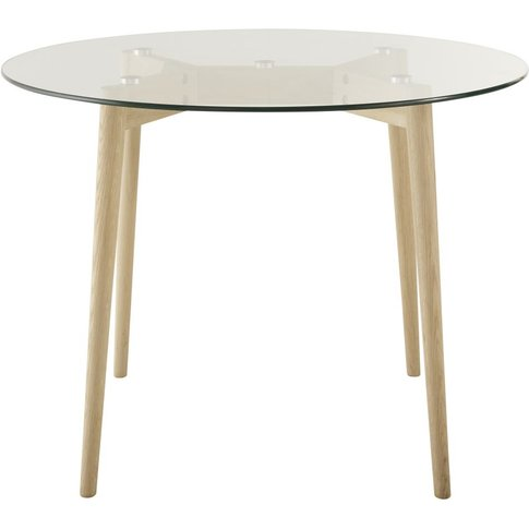Round 4-Seater Glass And Oak Dining Table D90 Mirage