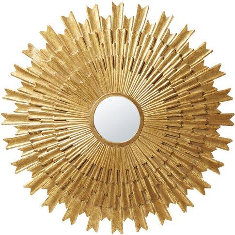 Round Aged Effect Gold Mirror D138
