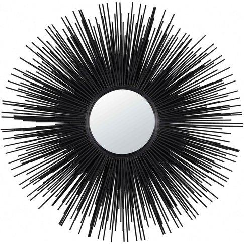 Round Black Metal Mirror D 101 Cm Massala
