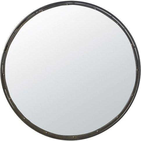 Round Black Metal Mirror D120
